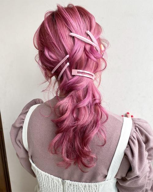 ピンクヘア ピンクカラー ピンクヘアアレンジ ブリーチカラー