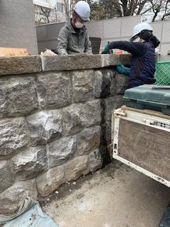 間知石 石積み工事