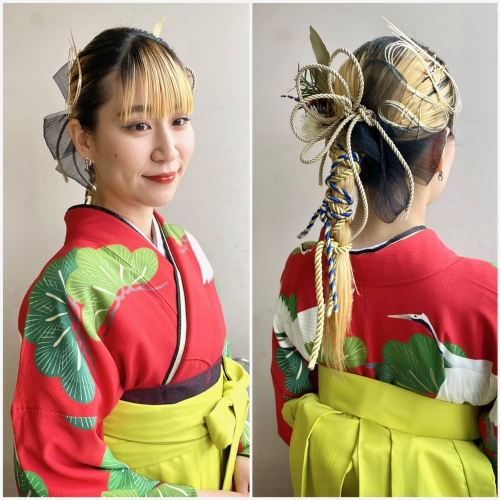 水引きアレンジ 卒業式ヘア 袴 髪型 2021年