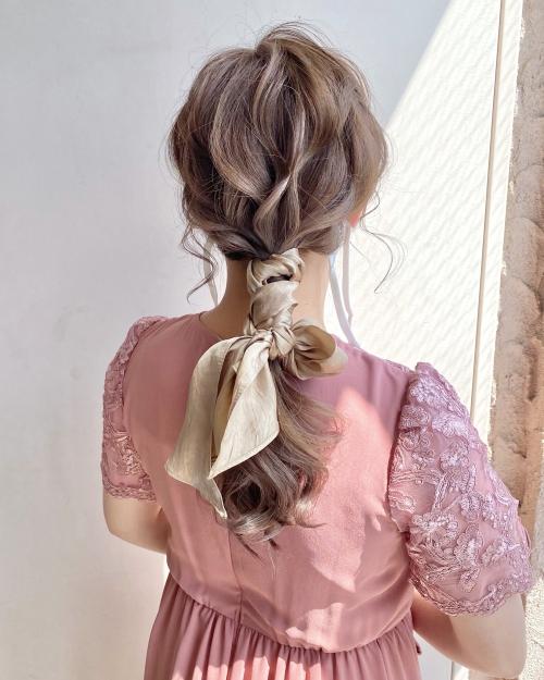 スカーフアレンジ  編みおろしアレンジ  結婚式