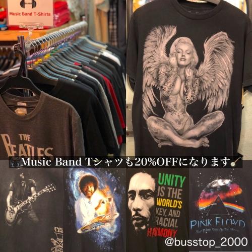 音楽・バンド系Tシャツも20%オフです!