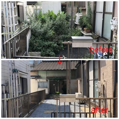 川崎市にて草むしり・防草シート・砂利敷き作業