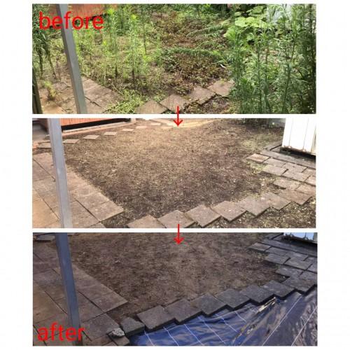 神奈川県にて草刈り・伐採・防草シート張り作業
