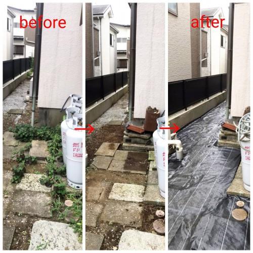 千葉県にて防草シート施工