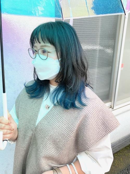ネイビーブルー ネイビーカラー 裾カラー ブリーチ